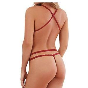 SpendWithJen Intimates & Sleepwear - Strappy Teddy Crotchless Red Lace Sexy Lingerie